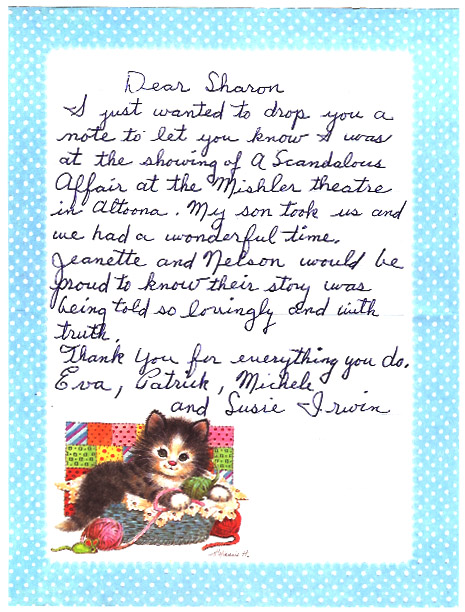 "Fan letter from ""A Scandalous Affair"""