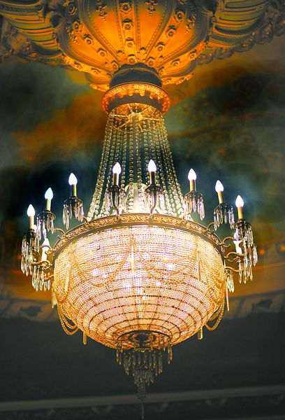 This chandelier from the Jeanette MacDonald-Nelson Eddy movie Maytime now hangs in the Mishler Theatre, Altoona, PA