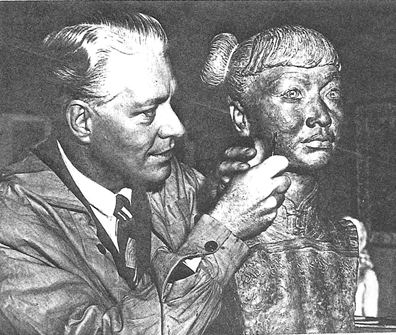 Nelson Eddy and his 1940s lifesize sculpture of Anna May Wong, limited edition replicas available at www.maceddy.com